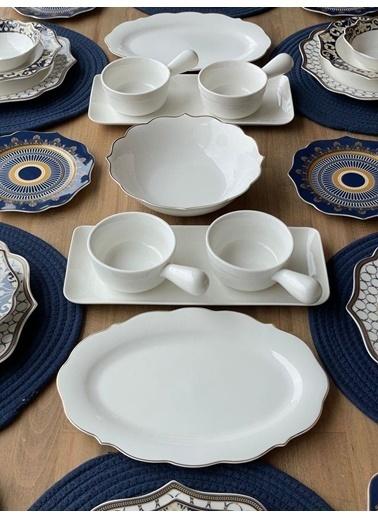 ROSSEV Yemek Takımı Blue Ring 39 Parça 6 Kişilik Renkli